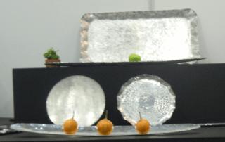 Handmade silver trays.