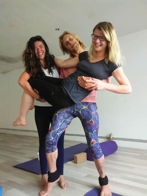 Michaela Simova and her yoga teachers from Dublin