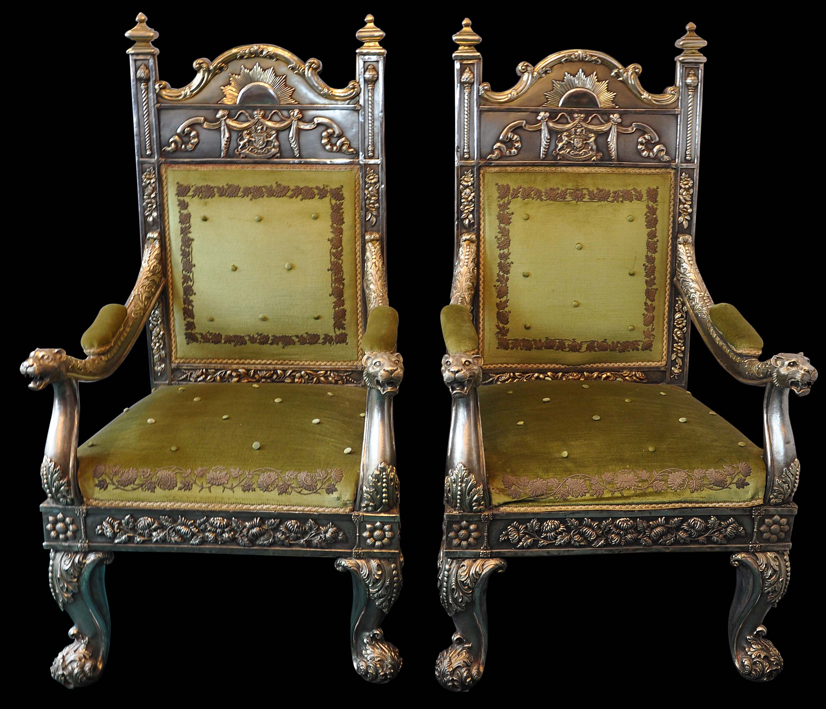 Silver Chairs Pair Of Gilded Silver Throne Chairs Of The Maharaja Of