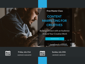Free Master Class with Michael Boezi and Dave Kusek to learn how to build and connect with an audience around your creative work.
