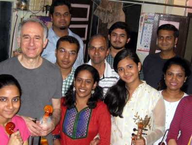 Michael with students after class in Mumbai Feb 5 2014 1