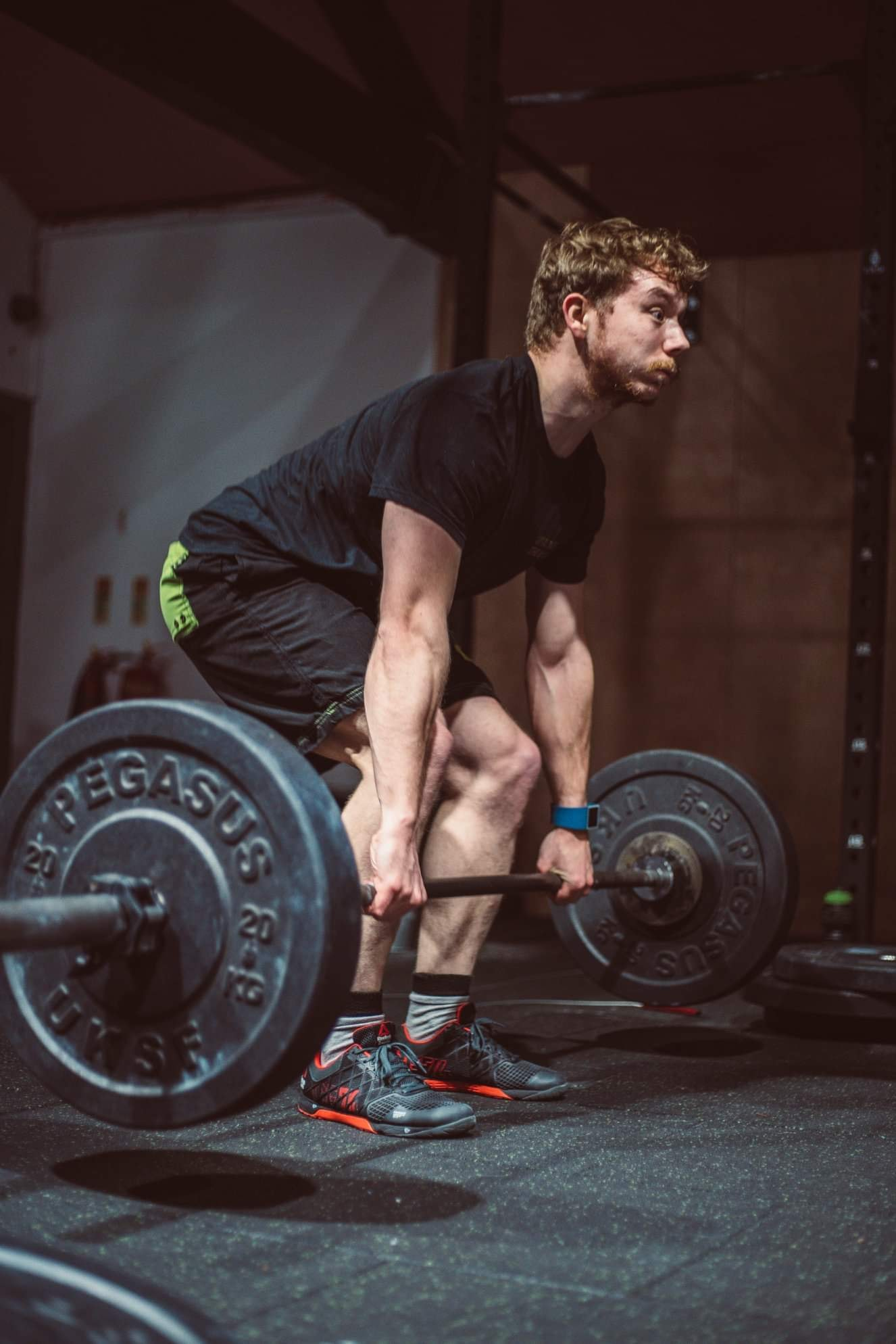 Picture of me deadlifting a 65kg barbell. Going into a power-clean.