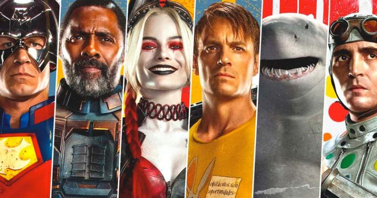 The Suicide Squad character banner. From left to right... Peacemaker, Bloodsport, Harley Quinn, Flag, King Shark and Polkadot Man.