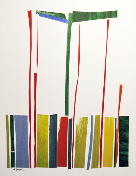 Lina's Lines, collage with painted paper, Michael Chambers