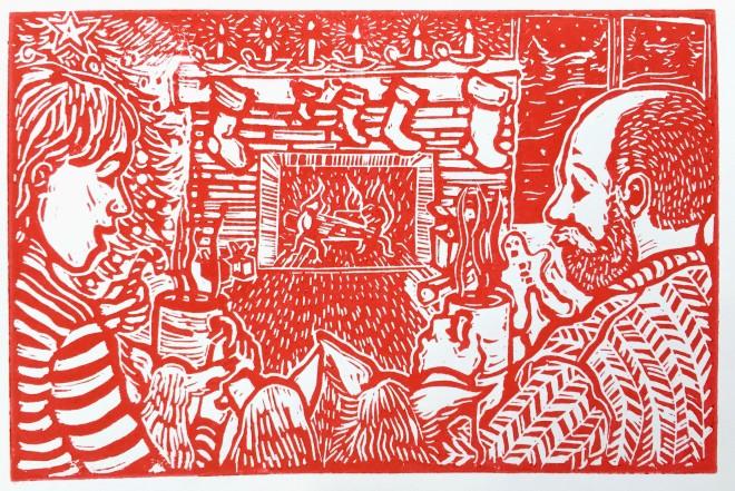 Christmas card 2015 - linocut - Michael Chambers
