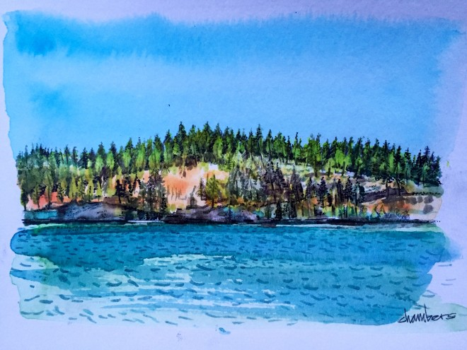 Spirit Lake #2, watercolor and ink, Michael Chambers