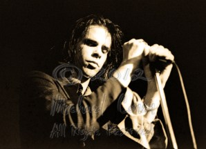 Nick Cave eyes closed horizontal [Nick Cave & The Bad Seeds - I Beam, SF 10-28-86]