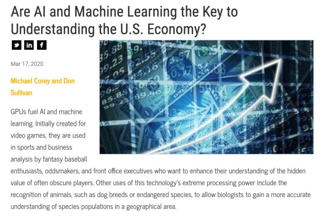 AI and Machine Learning Key to understanding U.S. Economy