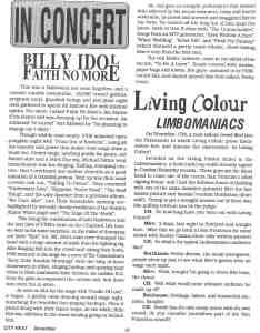 Dec 1990 City Heat InConcert: Billy Idol Faith No More