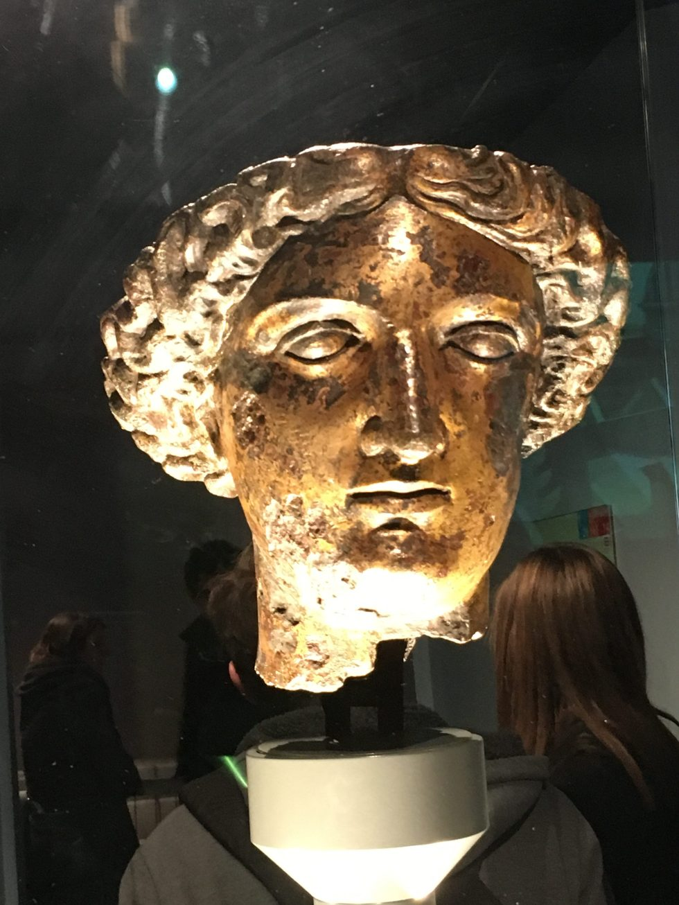 Head of Roman Goddess Sulis Minerva from the Temple Courtyard of the Roman Baths at Bath