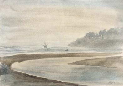 Fishing Boat, 7:15 am, Van Damme Beach, July 12th, 2019