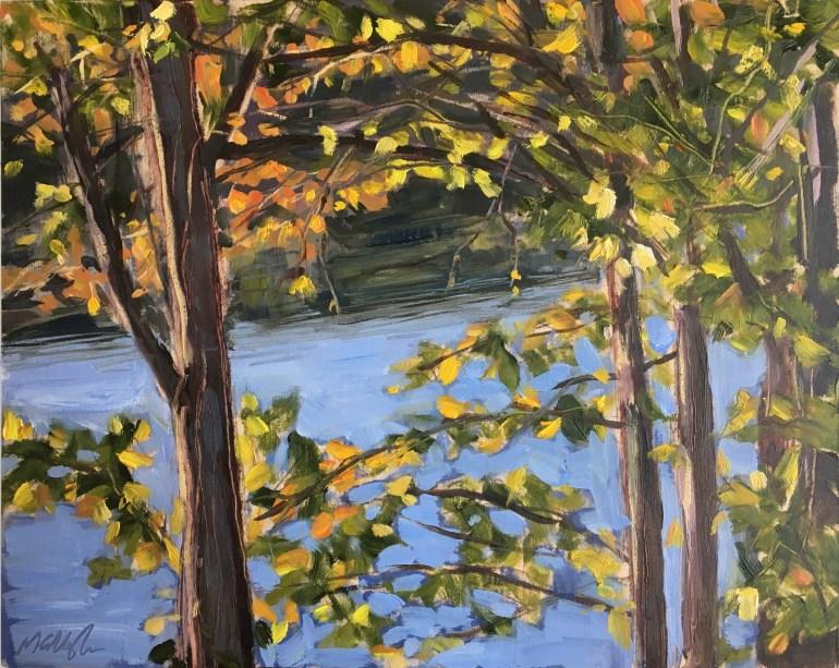 Upton Lake, September 22nd, 2019, Through the Trees, 9:00 am