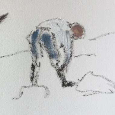 Sketch 1, detail: Mark laying weed mat and mulch, October 9th, 2020