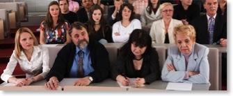 Zuhörer sind gelangweilt vom Vortrag