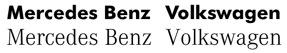 Logos von Mercedes Benz und Volkswagen jeweils in beiden Hausschriftarten gesetzt. Es ist sofort erkennbar, welches die richtige Schrift ist