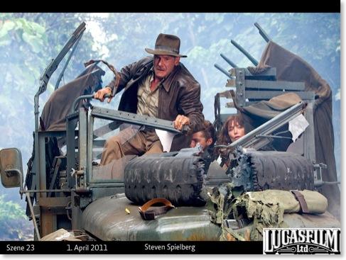 Indiana-Jones-Szene mit Statuszeile