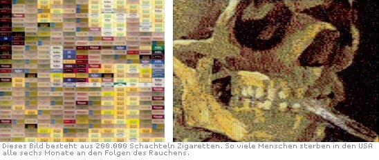 Dieses Bild besteht aus 200000 Schachteln Zigaretten. So viele Menschen sterben in den USA alle sechs Monate an den Folgen des Rauchens.