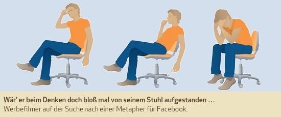 Wär' er beim Denken doch bloß mal von seinem Stuhl aufgestanden … Werbefilmer auf der Suche nach einer Metapher für Facebook.