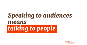 Speaking to audiences means talking to people