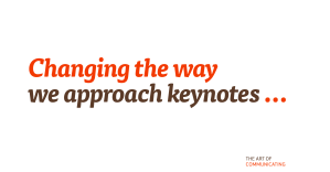 Changing the way we approach keynotes