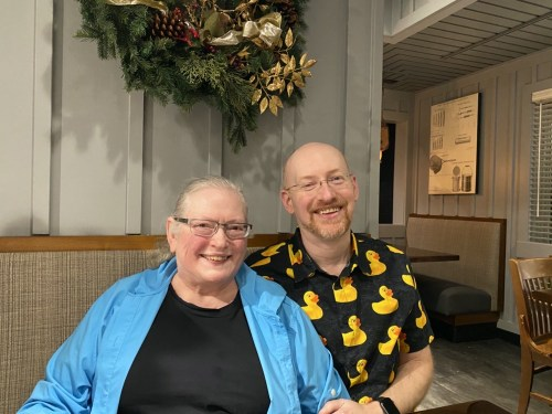 My mom and I at dinner