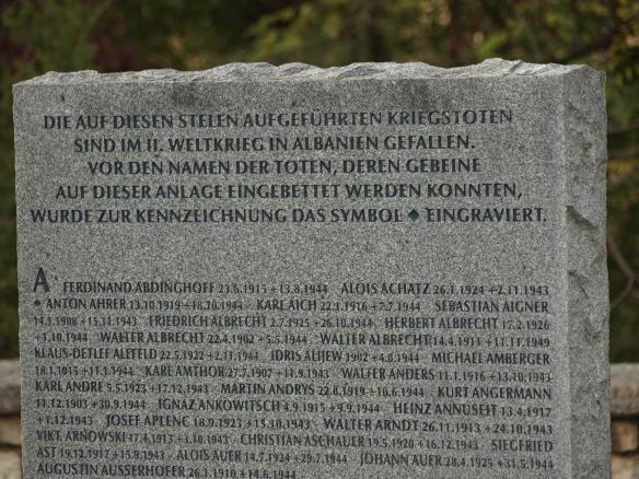 Engraved stone, German War Memorial, Tirana, Albania