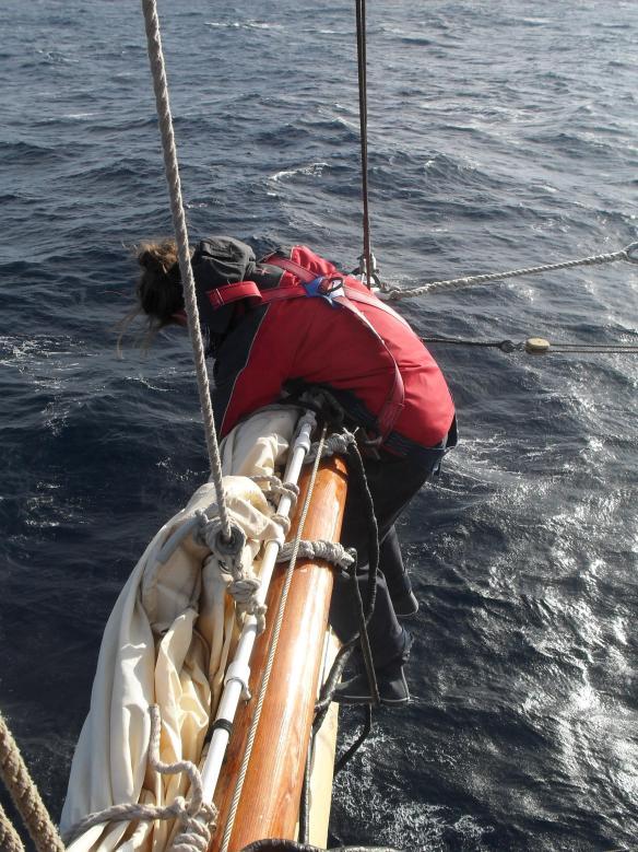 Stowing the Royal sail