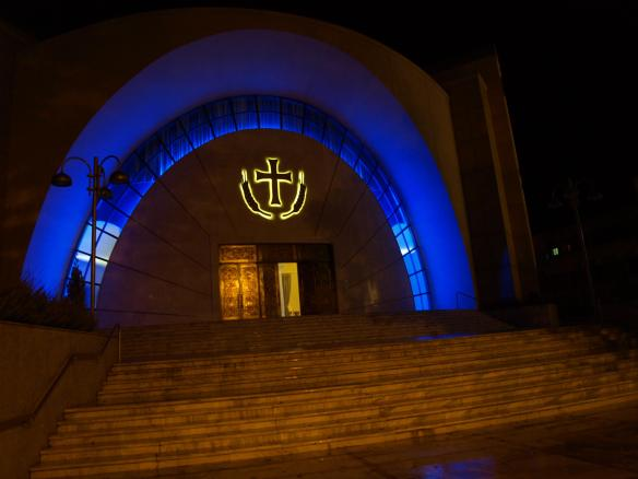 Cathedral of the Resurrection of Christ, Tirana - Main entrance at night