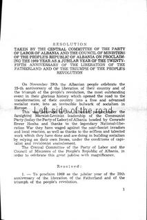 Resolution of the CC of the PLA - 1969 Year of the 25th Anniversary of the Liberation of the Fatherland