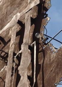 Emblem over Party HQ, Peshkopia - lightbulb