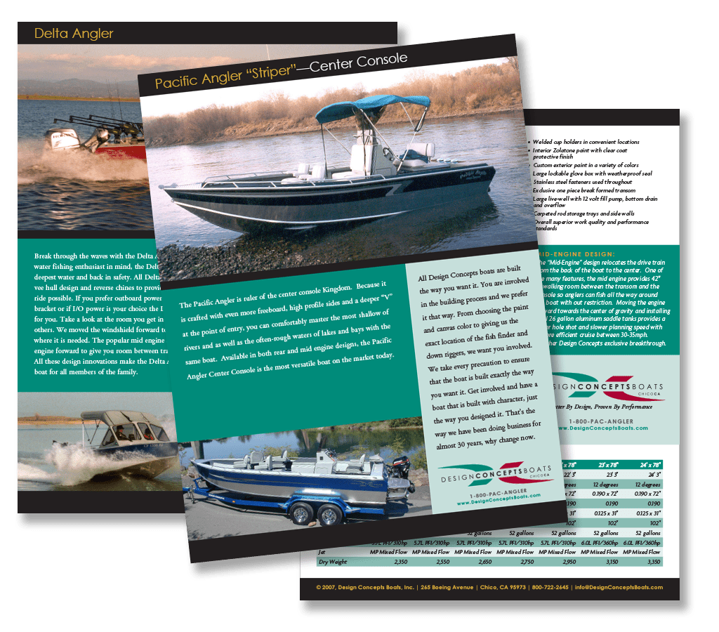 Design Concepts Boats sales sheets