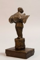 The Weight of Light - Michael Hermesh, Bronze, 7.75 X 4.75 X 2.75 inches, Ceramic and Bronze Sculpture by Michael Hermesh