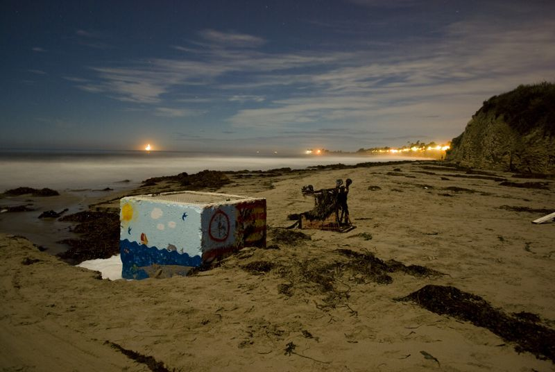 A long exposure shot of a UCSB beach.