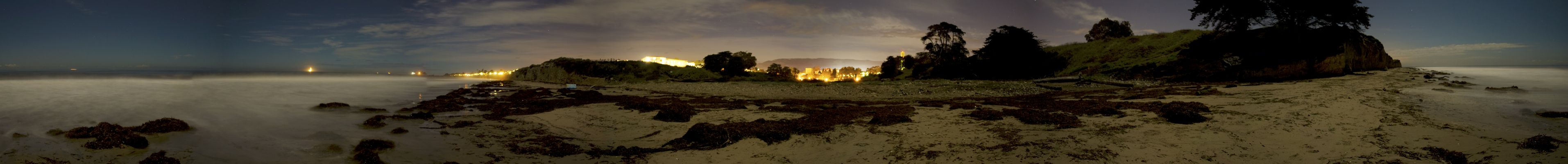 The UCSB beach covered in moonlight.