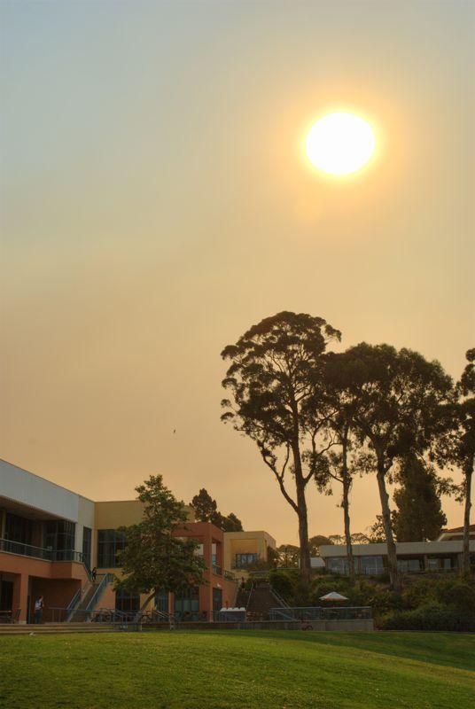 Smoke falling from the Jesusita fire a few weeks ago.