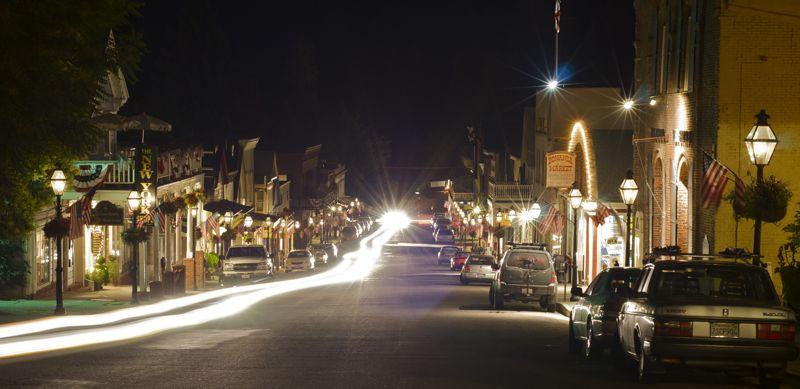 Nevada City's Broad Street at night.