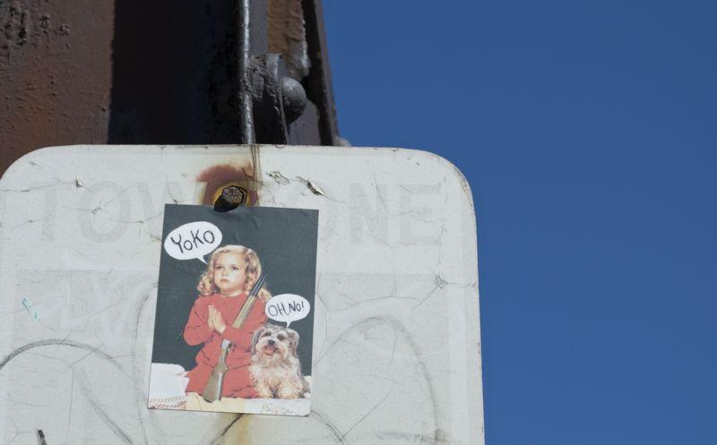 A slightly humorous sticker in Boston.