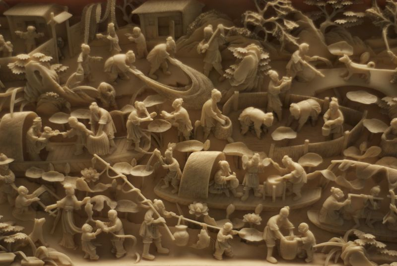 Carved ivory in the San Francisco Asian Art Museum.