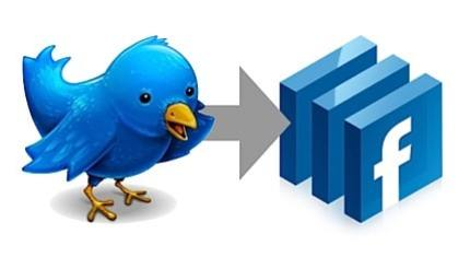 twitter logo with arrow pointing to facebook pages