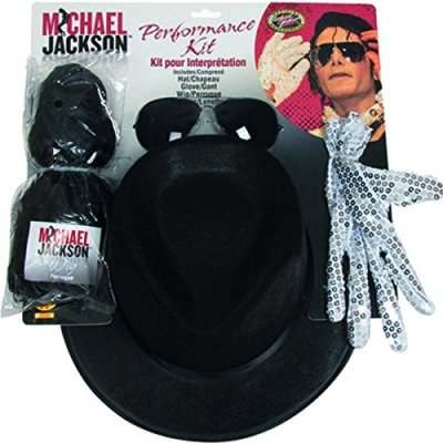 Michael Jackson Costume Accessory Kit with Wig, Hat, Glove ...