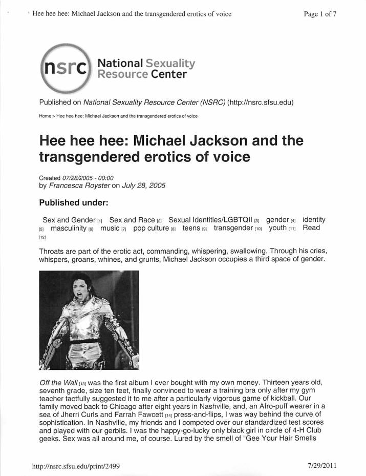 Hee Hee Hee': Michael Jackson and the Transgendered Erotics of Voice