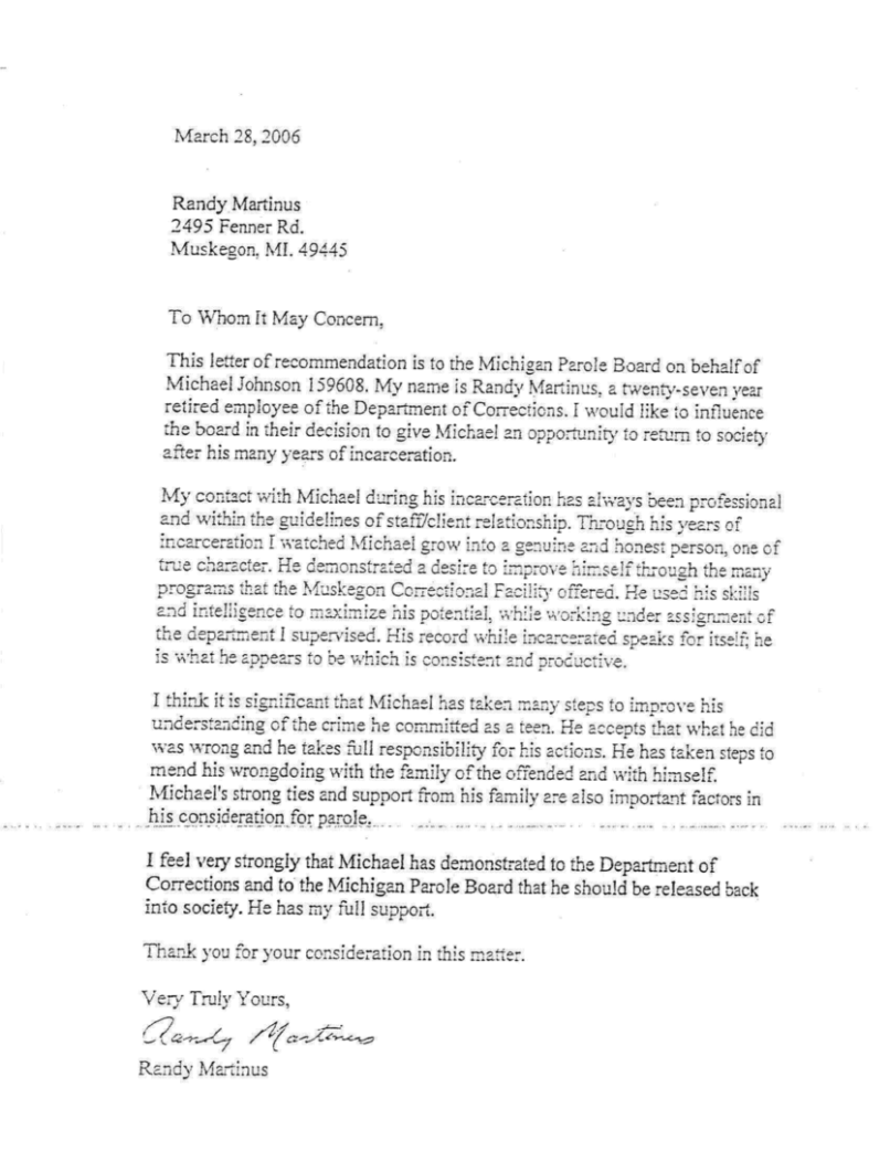 letter to parole board on behalf of inmate  mamiihondenk