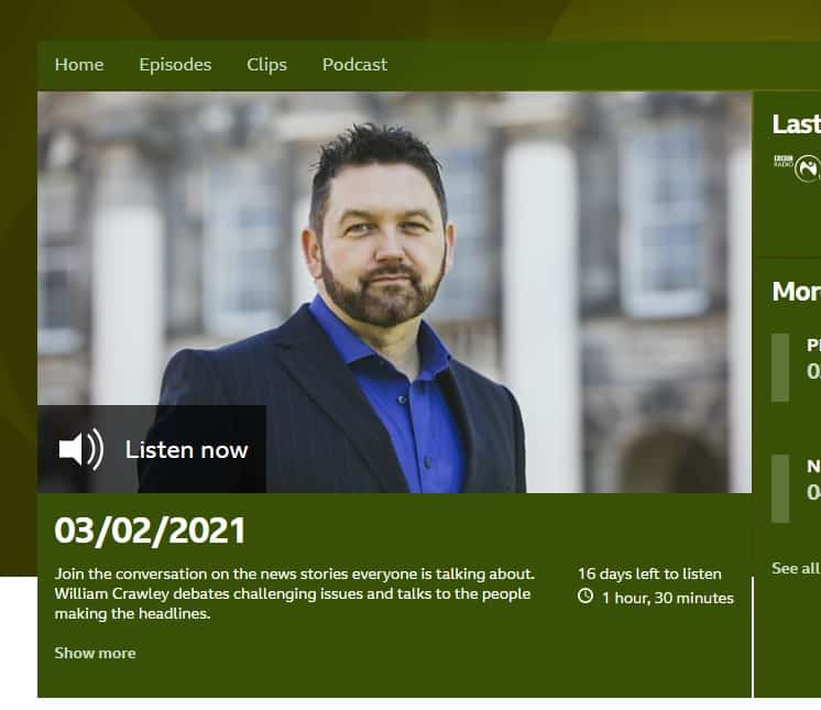 William Crawley from BBC Talkback on Radio Ulster