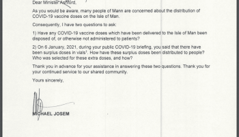 Letter to Minister Ashford asking about whether any vaccine doses have been disposed of