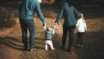 family walking on path