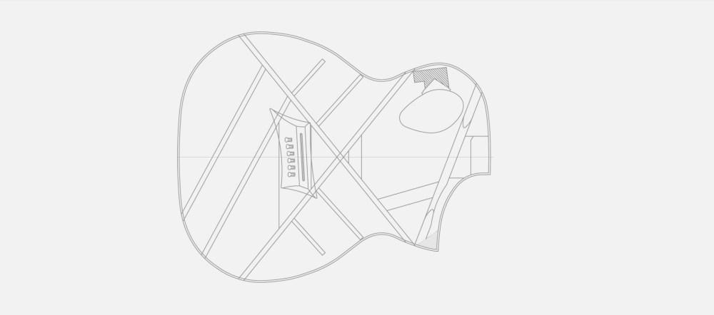 medium resolution of creates potent soundboard between neck and bridge innovative offset soundhole design port technology special bracing pattern