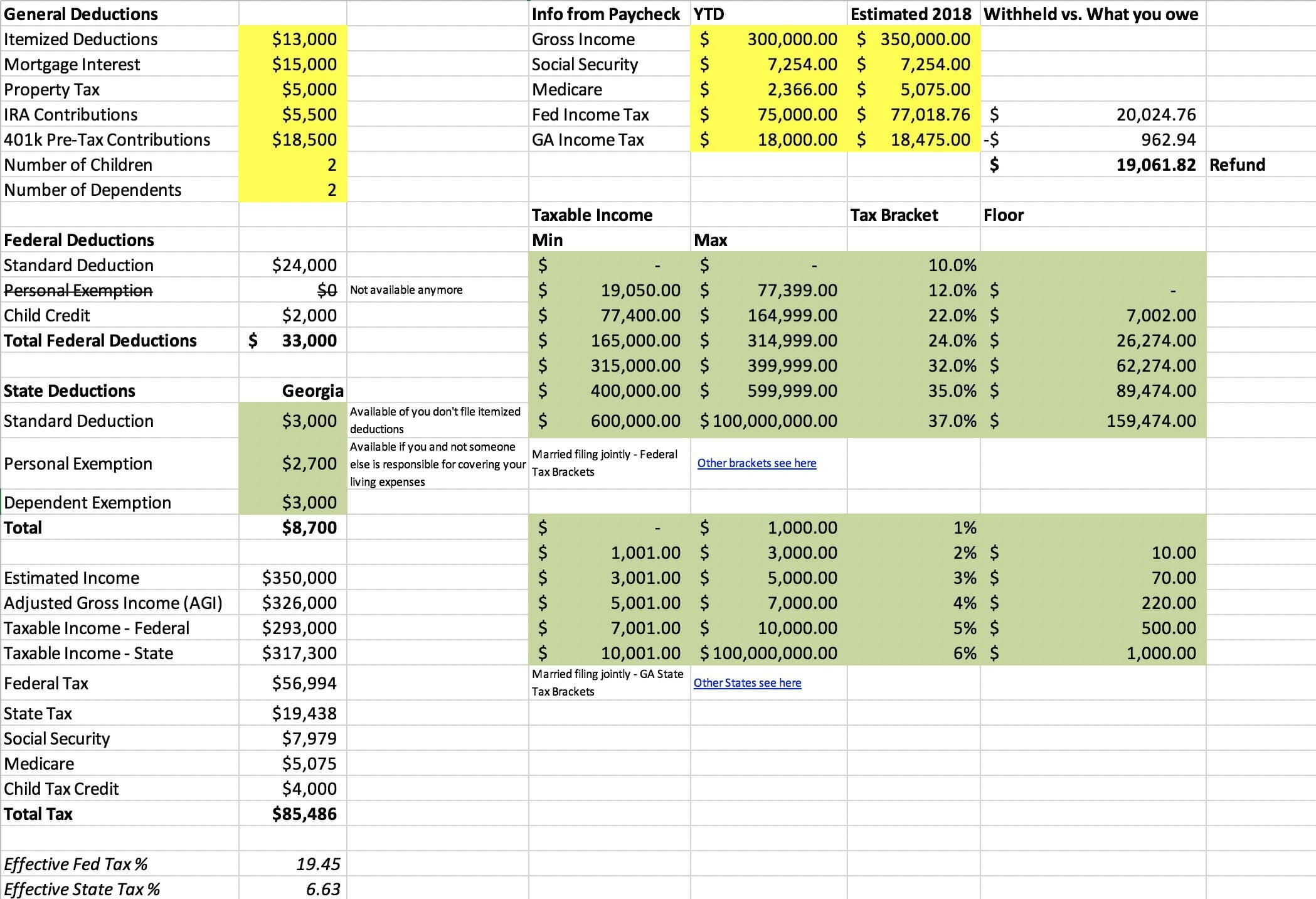 Weekly Tax Table Excel