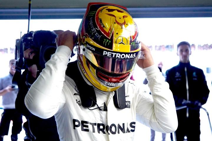 Hamilton at his home grand prix at Silverstone.