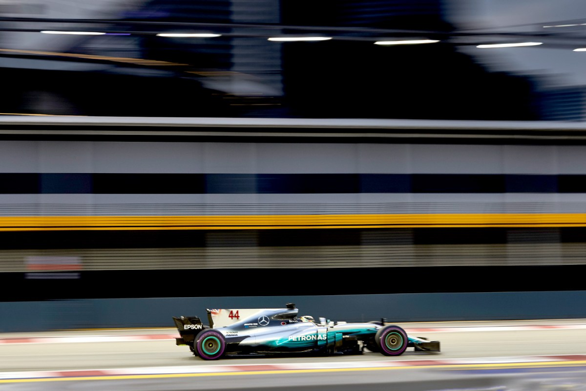 Lewis Hamilton in his Mercedes at the 2017 Singapore Grand Prix.