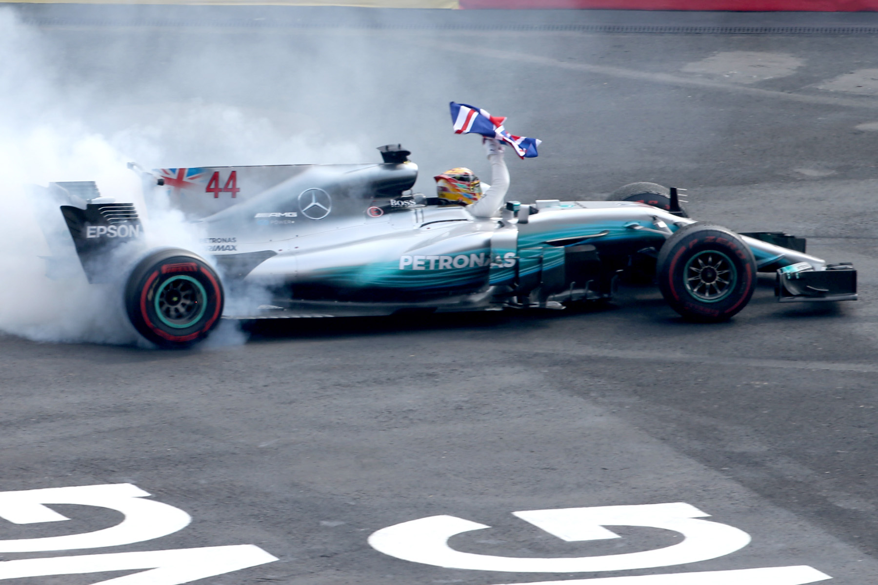 Lewis Hamilton does celebratory doughnuts at the 2017 Mexican Grand Prix.